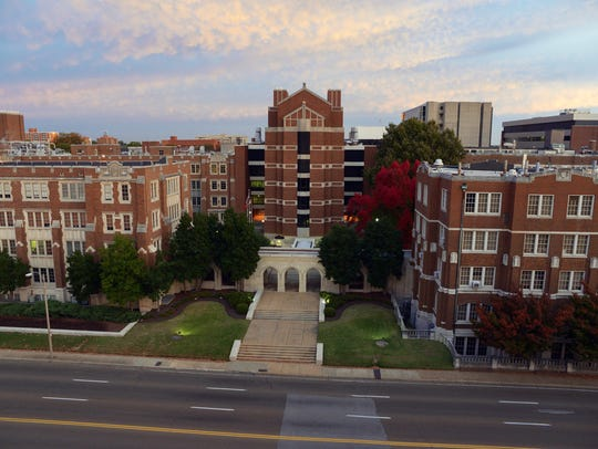 Part of the University of Tennessee Health Science Center campus as seen from the Dunn Dental Building.