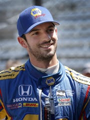 Andretti Herta Autosport IndyCar driver Alexander Rossi (98) waits to get into his car before practice for the Indianapolis 500 Wednesday, May 17, 2017, afternoon at the Indianapolis Motor Speedway.