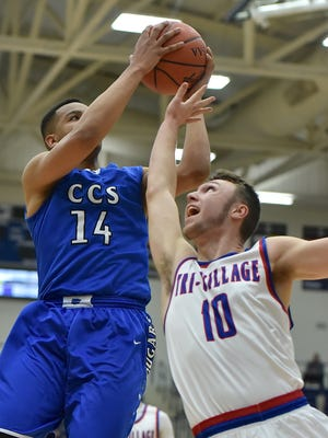Christian Keese is fouled on his way to the hoop.