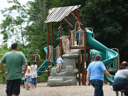 People visiting Winter's Park in Mahwah, which also