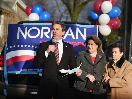 Bergenfield Mayor Norman Schmelz announces his run for Bergen County Executive as his sister Norma Rose-Elfers and mother Rose Schmelz listen outside of his childhood home in Bergenfield on Sunday, March 4, 2018.