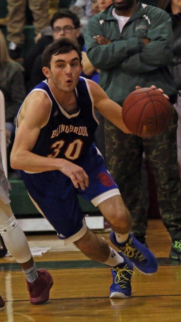 Blind Brook's Jake DiGiansante drives to the basket