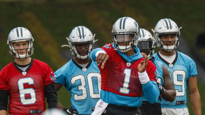 Panthers quarterback Cam Newton (1) had offseason shoulder surgery.