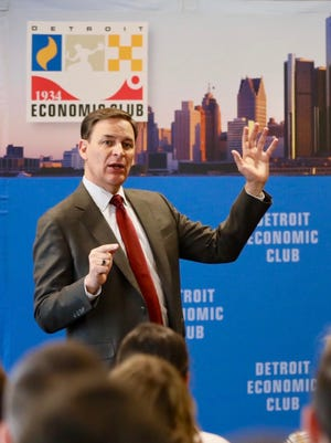 Jay Timmons, president and CEO of the National Association of Manufacturers, at the Detroit Economic Club on Friday, Feb. 24, 2017.