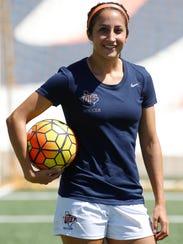 UTEP senior midfielder Brianna Barreiro of El Paso,