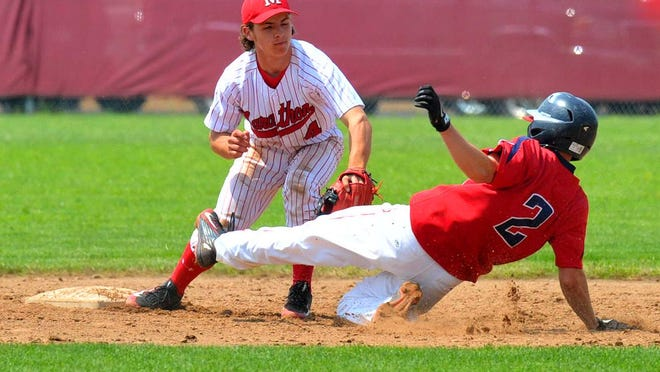 Marathon second baseman Noah Dirks tags out Pacelli's Troy Flugaur during a WIAA Division 3 sectional semifinal last week. The Raiders head into a state semifinal matchup with Aquinas Wednesday.