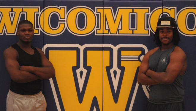 Sylvens Mondestin (left) and Josh Whittington will both play college football next season after four years at Wicomico High School.