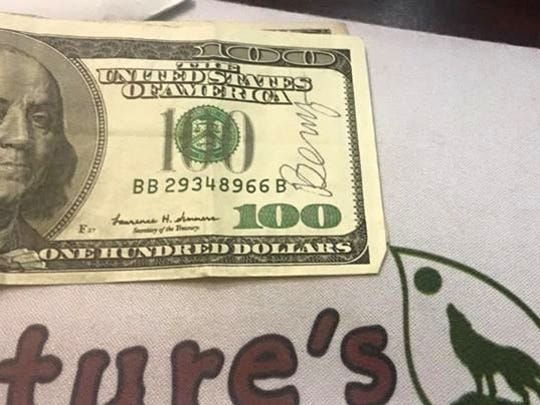 Someone who found a $100 bill signed by Benny bought food at Nature's Pet Market to donate to Salem Friends of Felines.