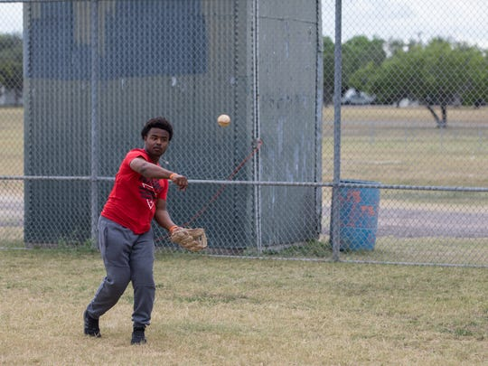 Refugio catcher Jacobe Avery warms up during practice on Tuesday, May 23, 2017.