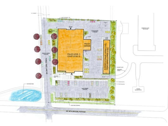 A preliminary design shows a concept layout for the city's new police/municipal court building.