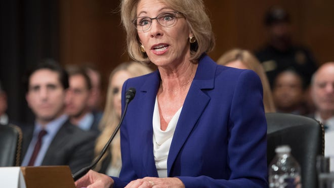 Betsy DeVos speaks during her confirmation hearing before the Senate Health, Education, Labor and Pensions Committee on Jan. 17, 2017.