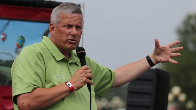 Republican Bill Northey, running for secretary of agriculture, speaks at the Des Moines Register's Political Soapbox at the 2014 Iowa State Friday Aug. 8, 2014 in Des Moines, Iowa. The fair runs thru Aug 17.