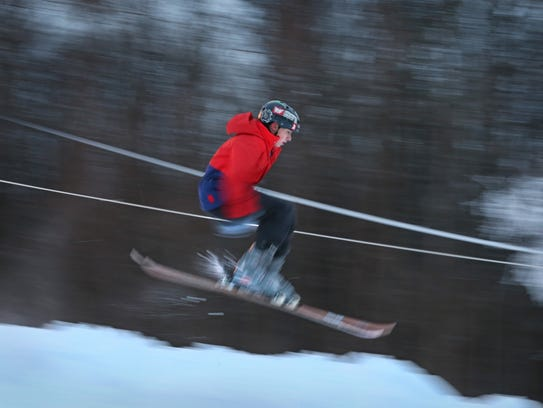 Cuyler Hoke, 14, of Brockport, going down the ski hill
