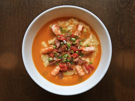Shrimp and grits from Doc Crow's Southern Smokehouse on Main Street in downtown Louisville.