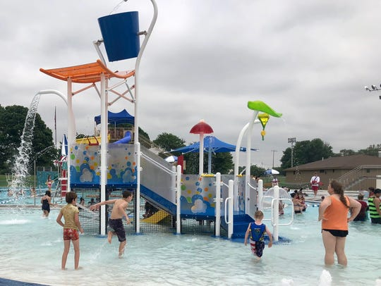 Patrons swim and play at the new Chambersburg Aquatic