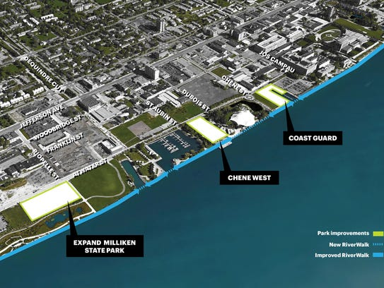 Map of new greenspace along the East Riverfront along