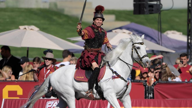 USC Trojans white horse mascot Traveler with rider Hector Aguilar.