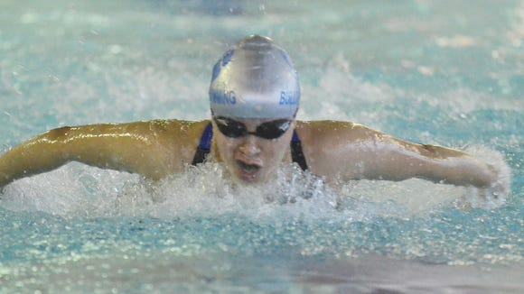 Passaic County Swimming Championship. PCTI's Vanessa Hernandez in the 100 Butterfly. Jan 7, 2017