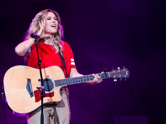 Rachel Platten, a last-minute sub as an opening act for Florida Georgia Line, performs at the American Family Insurance Amphitheater June 30.