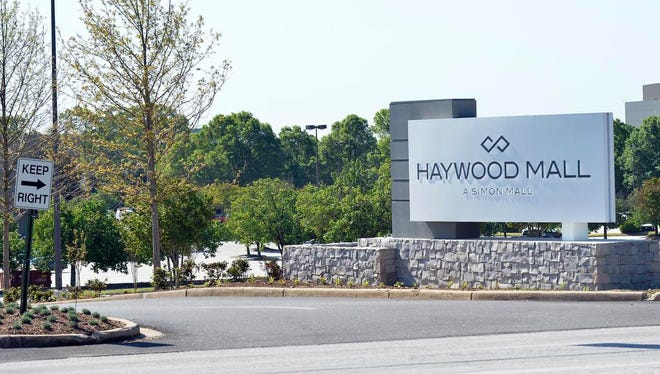 The entrance of the Haywood Mall on Haywood Road on Wednesday, April 22, 2015.