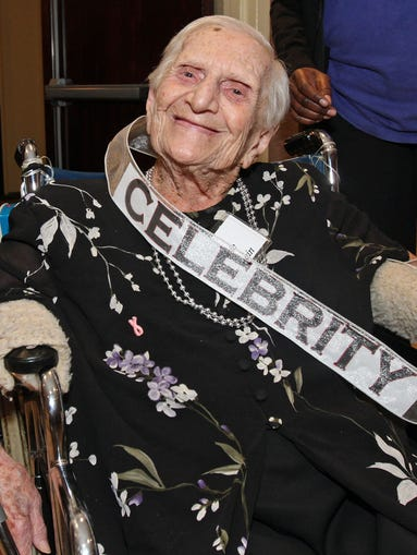 Centenarian Mollie Eisenstein smiles as she attends the luncheon. Somerset County honors18 residents that are 100 years and older during a luncheon at Regency Jewish Heritage Nursing and Rehabilitation Center, May 21, 2014. Somerset section, Franklin NJ. Kathy Johnson BRI EST 0524 Somerset 100