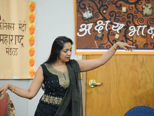 Asmita Kane performs an interpretive dance at the ceremony.