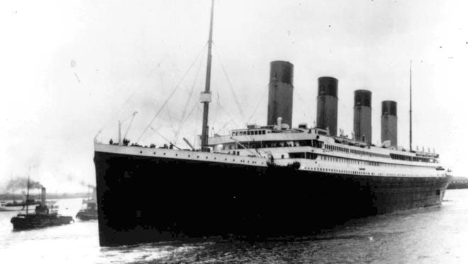 The British passenger liner Titanic leaves Southampton, England, on its maiden voyage on April 10, 1912.
