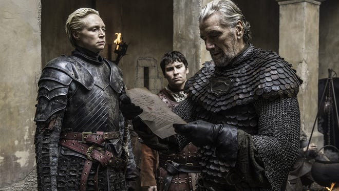 Brienne of Tarth, Podrick Payne and the Blackfish gather in Season 6, Episode 8 of HBO's Game of Thrones.