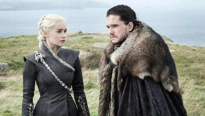 Emilia Clarke as Daenerys Targaryen and Kit Harington as Jon Snow on 'Game of Thrones.'