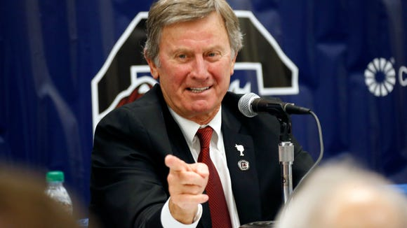 Steve Spurrier announced his resignation as South Carolina's coach on Tuesday.