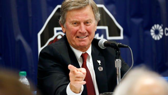Steve Spurrier announced his resignation as South Carolina's coach on Tuesday.