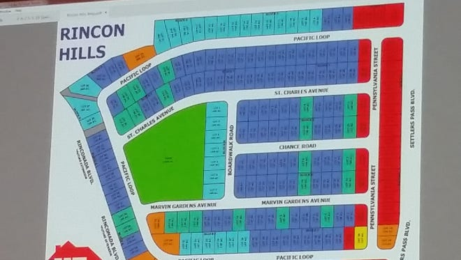 A slide showing the proposed Rincon Hills subdivision is shown at a Las Cruces Planning & Zoning Commission meeting Tuesday, May 1, 2018, at Las Cruces City Hall, 700 N. Main St.
