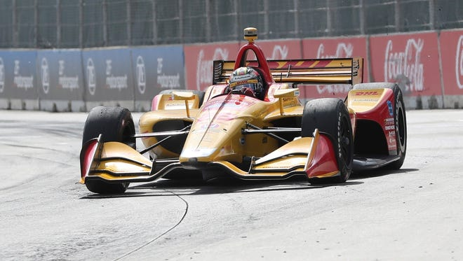 Ryan Hunter-Reay takes turn one during the second race of the IndyCar Detroit Grand Prix auto racing doubleheader, Sunday, June 3, 2018, in Detroit.