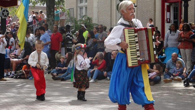 Accordion player Eugene Kobisky takes part in a past International Folk Festival.