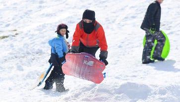 Sledding thrills and spills on Mary Baldwin hill