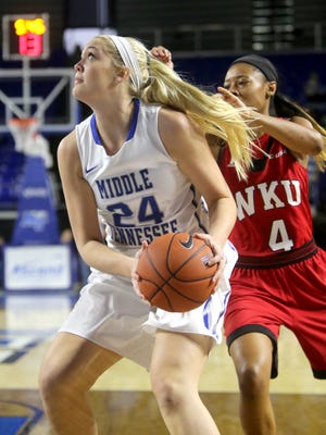MTSU's Rebecca Reuter (24) could see time in the post and on the perimeter this year