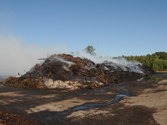 A compost pile at Brown's Island Demolition Landfill