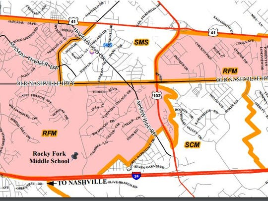 Proposed zoning for Rocky Fork Middle. Public hearings are scheduled for Oct. 25 at Smyrna Middle and Oct. 27 at Stewarts Creek Middle, both beginning at 6:30 p.m.