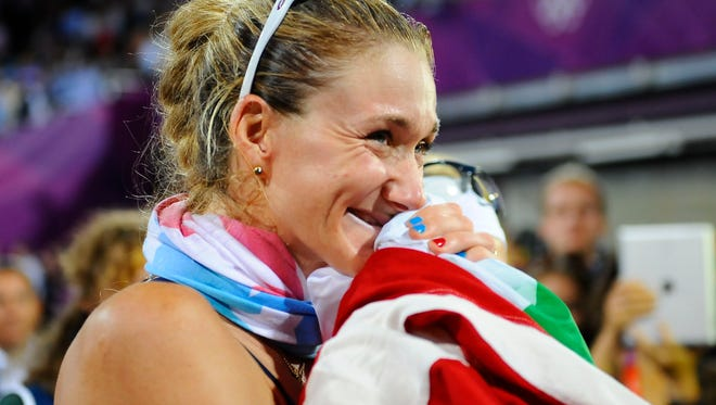 Kerri Walsh celebrates winning the gold medal in August of 2012 in women's beach volleyball during the 2012 London Olympic Games.