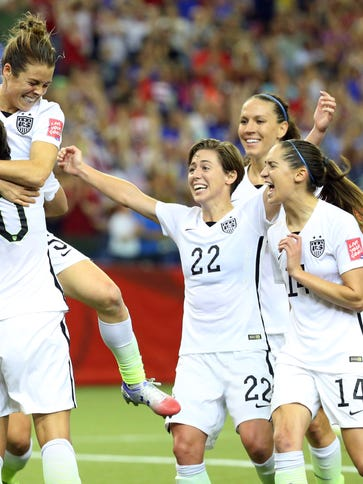 United States forward Kelley O'Hara celebrates her