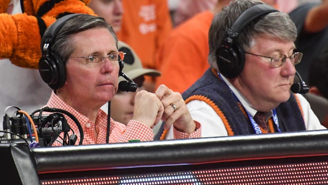 Clemson basketball radio announcer Don Munson, left, with Tim Bourret calling play by play for the game with South Carolina during the second half at Littlejohn Coliseum in Clemson on Tuesday.