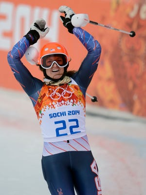Julia Mancuso of the USA completes her slalom run Monday, good enough for third in the super combined.