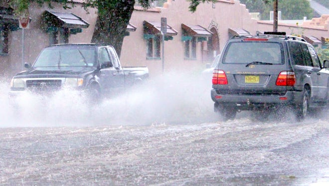 The Monsoon season brings torrential rain to Silver City every summer. Flash flooding is typical as seen in the picture above. It normally happens when the ground can't absorb all the moisture at once. The National Weather Service recommends to avoid low crossing areas, such as the one above on College Street.