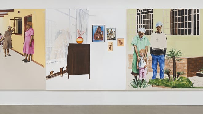 """Botswana native Meleko Mokgosi's mural-size paintings will be displayed at Rochester Contemporary Art Center and the Memorial Art Gallery. Pictured is """"Chapter V: Graase-Mans, 2010–2014."""""""