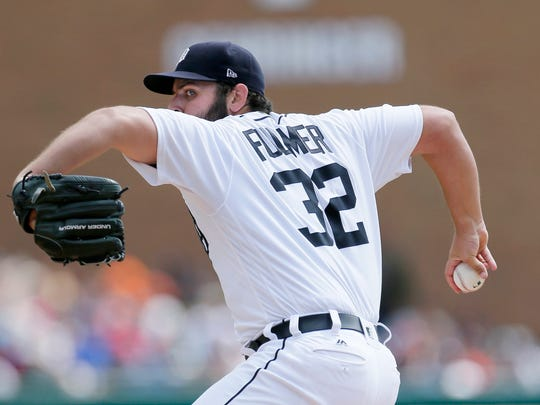 Tigers pitcher Michael Fulmer pitches against the Yankees during the third inning of the Tigers' 10-6 win on Thursday, Aug. 24, 2017, at Comerica Park.