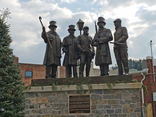 Sculpture commemorating famed Glen Rock Carolers
