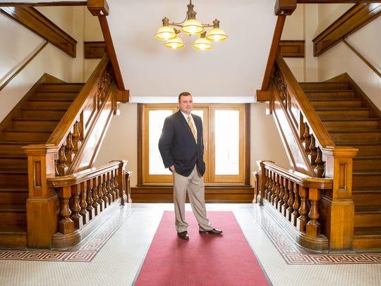 Matt Horn, in his element at City Hall in Geneva.