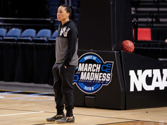 South Carolina head coach Dawn Staley watches her team during practice at the NCAA women's college basketball tournament Friday, March 23, 2018, in Albany, N.Y. South Carolina faces Buffalo in a regional semifinal on Saturday. (AP Photo/Frank Franklin II)