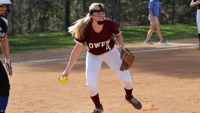 Owen sophomore Jaiden Tweed led all mountain softball pitchers with 201 strikeouts in 2015.