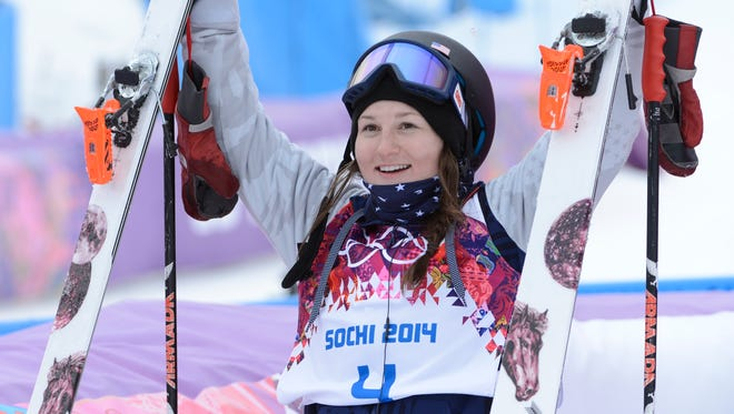 Devin Logan (USA) reacts after her first run in the finals during the Sochi 2014 Olympic Winter Games at Rosa Khutor Extreme Park.